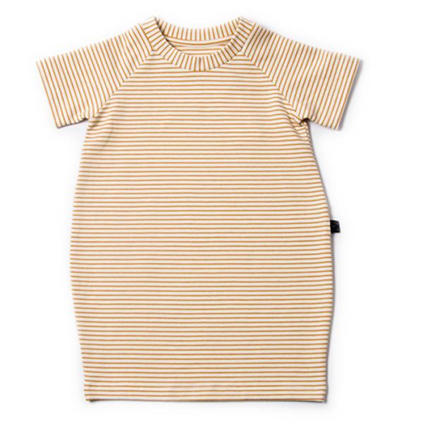 Monkind T-Shirt Kleid, Gr. 1-2 Jahre, Gelb gestreift