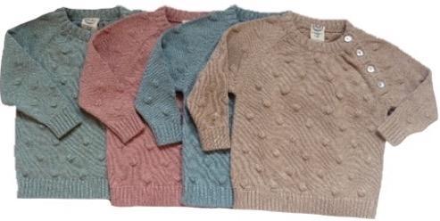 Puri Organic Baby/Kinder Pullover aus 80% Bio Baumwolle und 20% Seide, Gr. 62/68, Latte