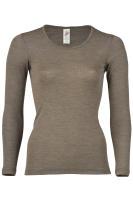 Engel Natur Damen-Shirt langarm, Gr. 38/40, Walnuss